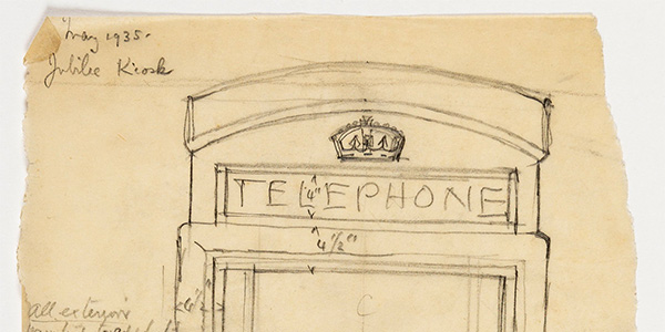 close up of Giles Gilbert Scott Design for the K6 telephone kiosk, celebrating the Silver Jubilee of George V, 1935.